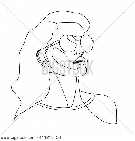 Stylish One Line Woman In Sunglasses. Fashionable Typography Girl In Minimalist Style. Beauty Sign.