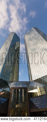 Frankfurt am Main, Germany- September 24, 2013: Skyscrapers of Frankfurt am Main. Frankfurt am Main is a dynamic and international financial and trade city with the most imposing skyline