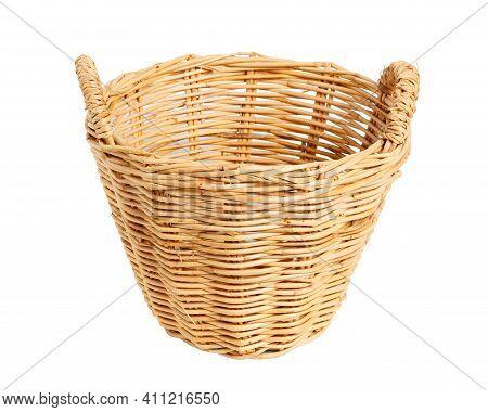 Empty Basket, Wicker Baskets, Bamboo Basket On White Background.