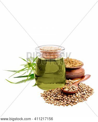Oil Hemp In Jar With Cereals And Flour
