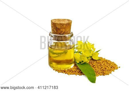 Oil Mustard In Vial With Seeds And Flower