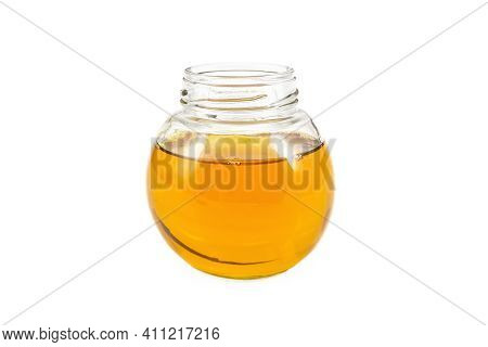Oil Vegetable In A Glass Jar Isolated