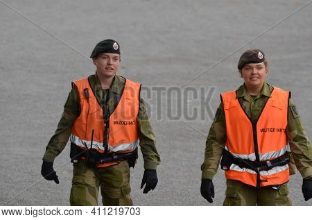 Military patrol. Norwegian King's Guard soldiers in Akershus Fortress.The barracks of the Guard are located in the fortress. June 17,2018. Oslo,Norway