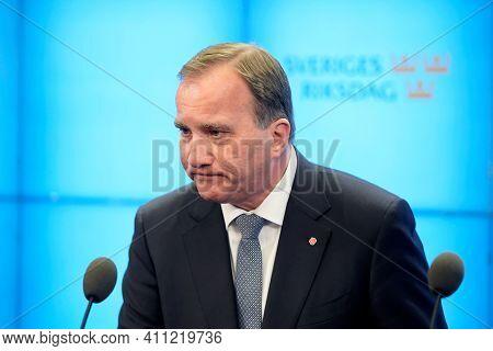 Stockholm, Sweden, November 2020, Sweden Prime Minister Stefan Lofven In Meeting