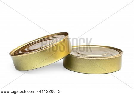 Closed Tin Cans On A White Background.