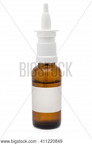 Glass Bottle Of Nose Spray With Blank Label On White.