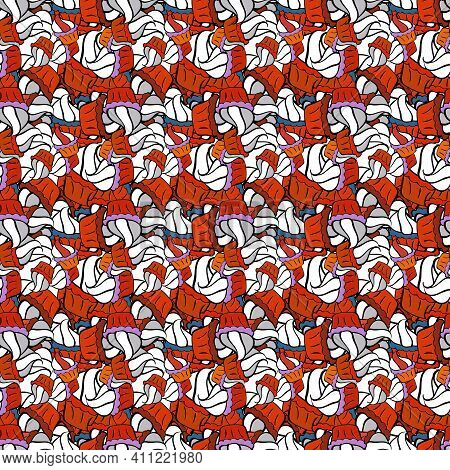 Vintage. Seamless Doodles Orange, Black And White On Colors. Stylish Fabric Pattern. Vector.