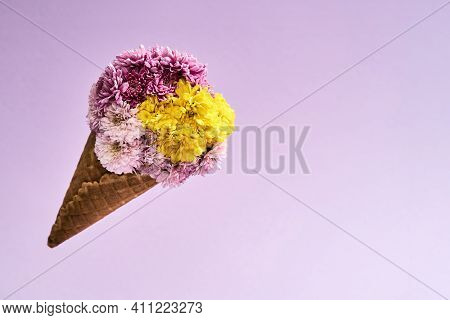 Beautiful Bouquet For March 8 On A Pink Background. Cute Bouquet Of Flowers Lying On A Bright Backgr