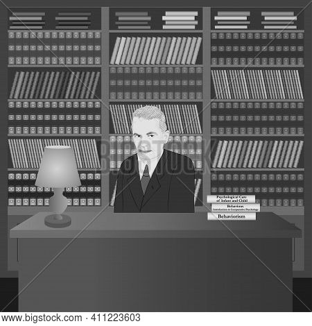 Portrait Of John Broadus Watson In The Library With His Own Books. Hand Drawn Illustration. Vector.