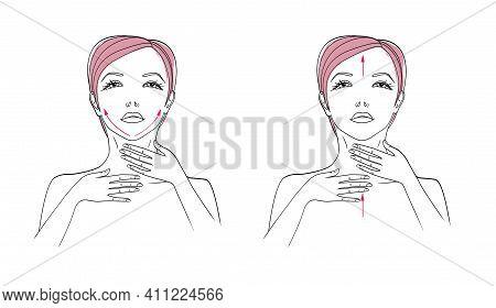 Face And Neck Massage. Applying A Nourishing Cream. Illustration Isolated On White Background.