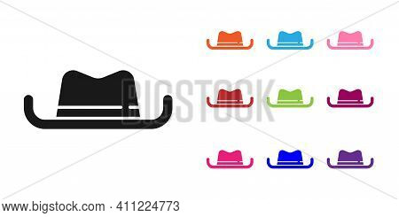 Black Western Cowboy Hat Icon Isolated On White Background. Set Icons Colorful. Vector