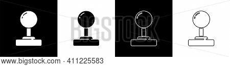 Set Joystick For Arcade Machine Icon Isolated On Black And White Background. Joystick Gamepad. Vecto