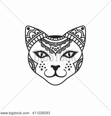 Vector Illustration With A Cat. Yogi Cat. Stylized Cat. Linear Beautiful Patterns On A Cat's Head. P