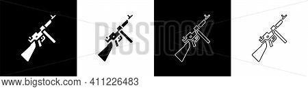 Set Thompson Tommy Submachine Gun Icon Isolated On Black And White Background. American Submachine G