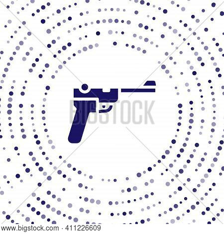 Blue Mauser Gun Icon Isolated On White Background. Mauser C96 Is A Semi-automatic Pistol. Abstract C
