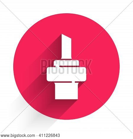 White Wooden Cork For Wine Icon Isolated With Long Shadow. Red Circle Button. Vector