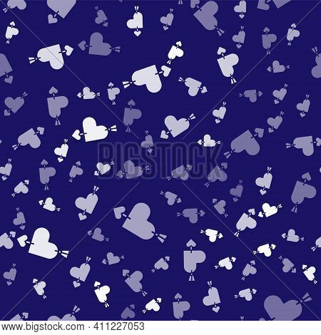 White Amour Symbol With Heart And Arrow Icon Isolated Seamless Pattern On Blue Background. Love Sign