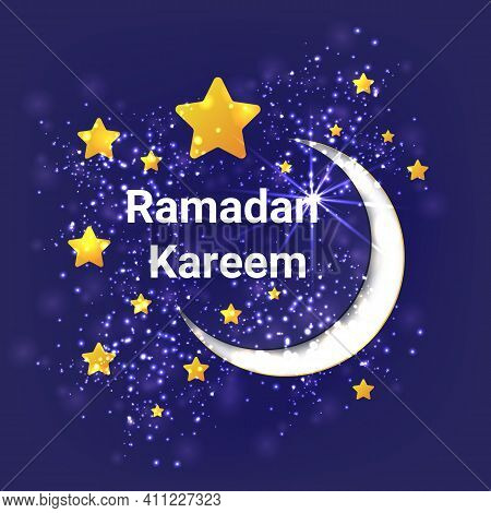 Ramadan Kareem Poster Or Invitations Design With 3D Paper Cut Stars And Moon On Violet Background. V