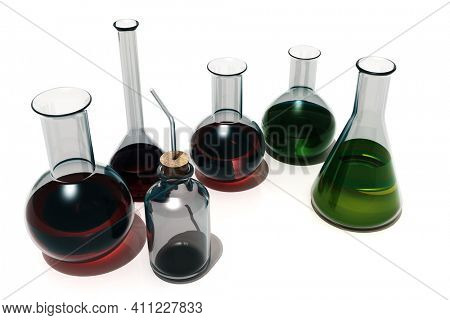 Glass objects for chemical analysis., 3d render