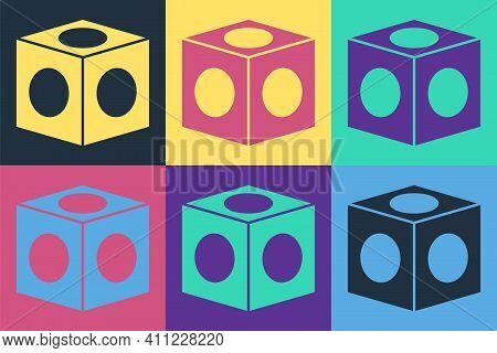 Pop Art Billiard Chalk Icon Isolated On Color Background. Chalk Block For Billiard Cue. Vector