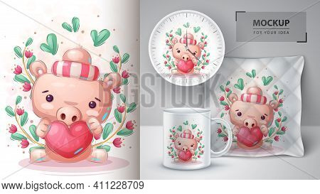 Pig With Heart Poster And Merchandising. Vector Eps 10