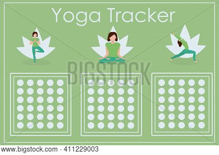 Vector Illustration With A Calendar Of Daily Yoga And Meditation Classes. A Form To Fill Out And Dev