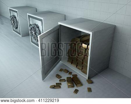 Gold bars in the safe. , 3d render