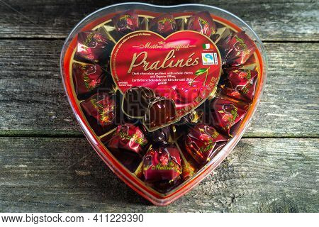 Miercurea Ciuc, Romania- 06 March 2021: Maitre Truffout Dark Chocolate Pralines In Heart Shaped Box