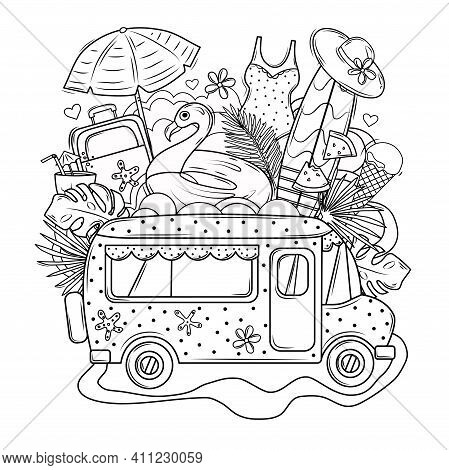 Summer Coloring Book. Travel To The Sea By Bus. Coloring Book For Adults. Vector Set. The Objects Ar