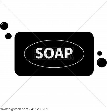 Soap Icon On White Background. Flat Style. Soap Bar And Bubble Sign. Bell Symbol. Soap Logo.