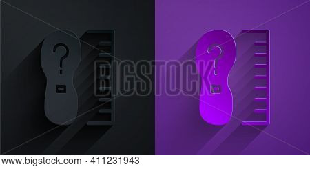 Paper Cut Square Measure Foot Size Icon Isolated On Black On Purple Background. Shoe Size, Bare Foot