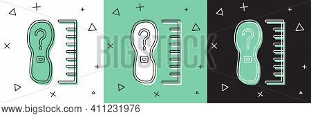 Set Square Measure Foot Size Icon Isolated On White And Green, Black Background. Shoe Size, Bare Foo