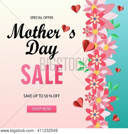 Mother S Day Sale Banner With Beautiful Chamomile Flowers. Paper Cut Style, Digital Craft Style.