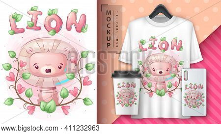 Cute Lion Poster And Merchandising. Vector Eps 10