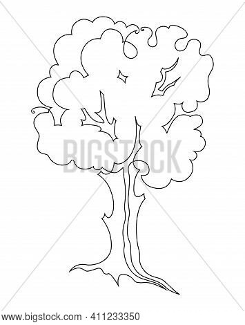 Tree With Roots. Single Continuous Line Drawing. Vector Illustration. Isolated On White Background