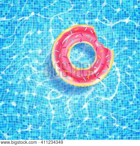 Swimming Pool With Floating Ring, Caustic Ripple And Sunlight Glare Effect. Aquatic Surface With Wav