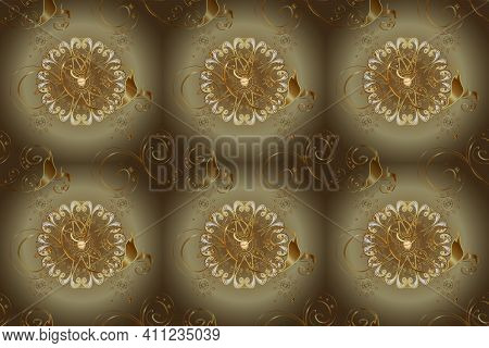 Oriental Raster Classic Beige And Brown And Golden Pattern. Seamless Abstract Background. Raster Ill