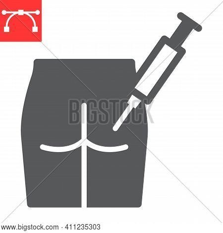 Intramuscular Injection Glyph Icon, Vaccination And Syringe, Buttock Injection Vector Icon, Vector G