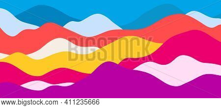Multicolor Mountains, Translucent Waves, Abstract Color Glass Shapes, Modern Background, Bright Land