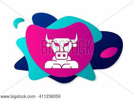 Color Minotaur Icon Isolated On White Background. Mythical Greek Powerful Creature The Half Human Bu