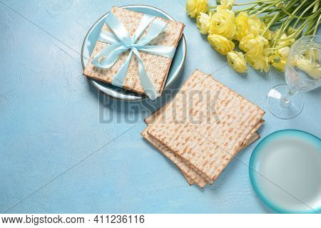 Table Served For Passover (pesach) Indoors, With Matzah Bread As Symbolic Pesach (passover Seder) It
