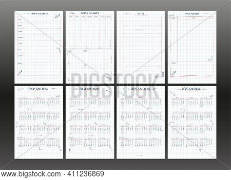 Set Of 2022 2023 2024 2025 Calendar Weekly Planner And To Do List. Hand Drawn Font Type Text And Ele