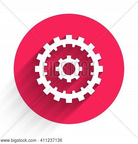 White Bicycle Cassette Mountain Bike Icon Isolated With Long Shadow. Rear Bicycle Sprocket. Chainrin