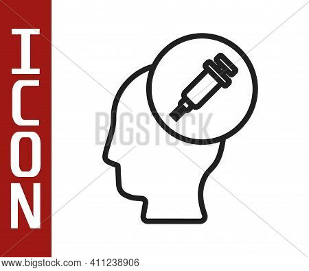 Black Line Addiction To The Drug Icon Isolated On White Background. Heroin, Narcotic, Addiction, Ill