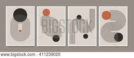 Set Of Abstract Hand Painted Mid Century Posters With Geometric Shapes. Composition Design For Wall