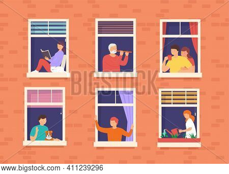People In Open Window Spaces Home. Concept Living Neighbors In Apartment Building In Big City. Neigh