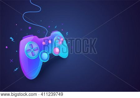 Neon Game Controller For Controlling Pc And Console Games. Game Background Concept.