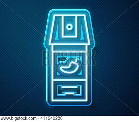 Glowing Neon Line Pepper Spray Icon Isolated On Blue Background. Oc Gas. Capsicum Self Defense Aeros