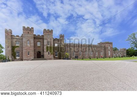 Perth, Scotland - May 25 , 2019 : Scone Palace Built Of Red Sandstone With A Castellated Roof, It Is