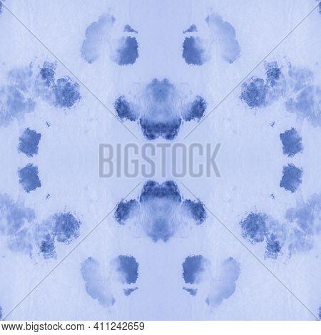 Paint Aquarel Spots Texture. Indigo Denim Dyed Pattern. Paintbrush Wallpaper. Abstract Aquarelle Pai